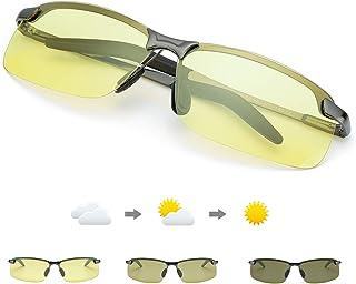 01bccc7b94 TJUTR Fotocromaticas Gafas de Sol para Conducción Nocturna Polarizadas  Hombre, Marco de Metal Anti Reflectante