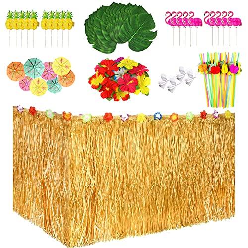LOVECENTRAL 149 Piezas Hawaiano Luau Falda de Mesa Set de Decoración, Decoraciones de Fiesta Tropical de 9FT, Flores de Hibisco, Hojas de Palma y Otros Objetos para la Fiesta Temática de Hawai.
