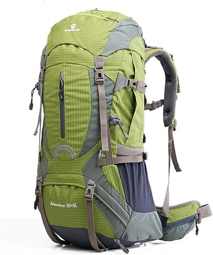 SMBYLL Sac à Dos de randonnée pour Homme 60L Grand Sac à Dos Ripstop pour Femmes Sac à Dos en Plein air (Couleur   vert)