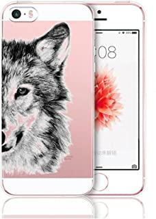 iPhone 5 5s SE Case,AIsoar Clear Soft Silicone Skin Cover Slim Flexible TPU Watercolor Flowers Floral Printed Back Cover for Apple iPhone 5 5s SE (Wolf)