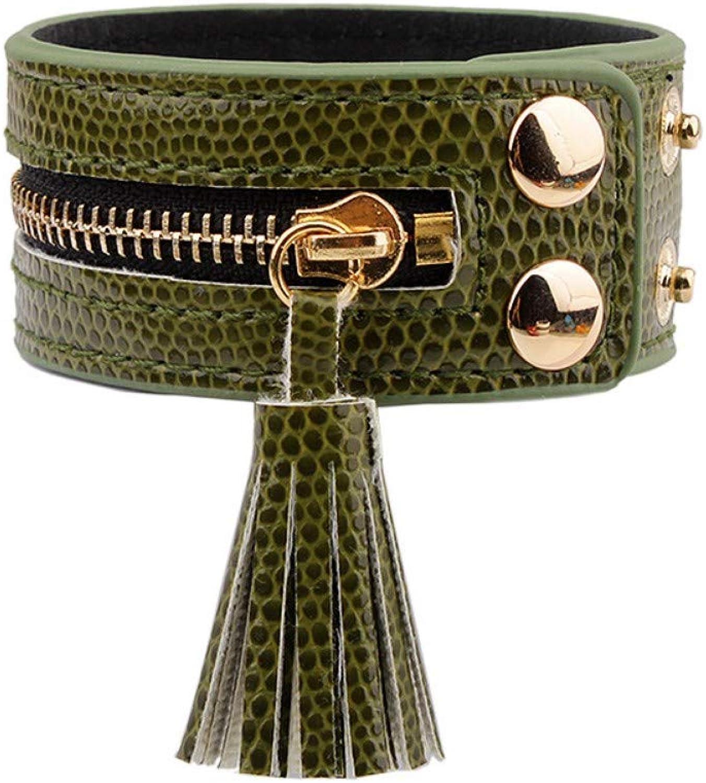 Bracelet Men,Fringed Buttons Green Bracelets & Bracelets Zipper Leather Bracelets Ladies Fashion Handmade Ladies Bracelet Jewelry
