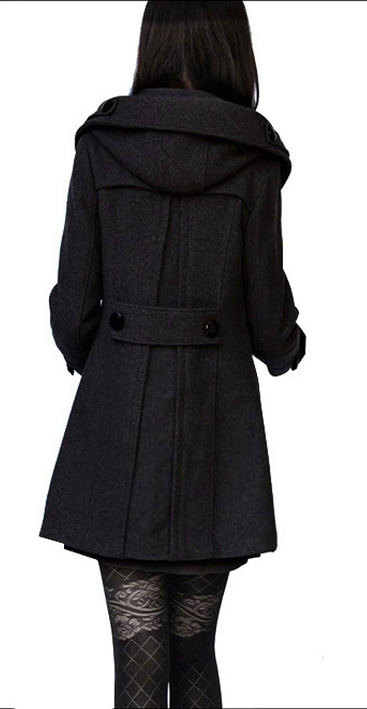 Tomwell Femme Manteau Jacket Trench Coat Gilet Blazer Manteau Hiver Femme Bouton de Mode Long Veste OL Vintage Chaud Manches Longues en Laine