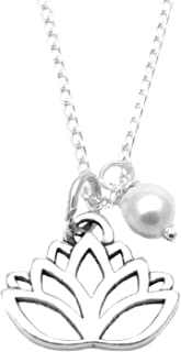 Heart Projects Sterling Silver Lotus Blossom Flower Charm, Swarovski Pearl, Necklace, 18