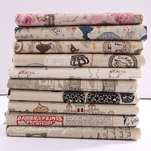 Bureze - Patrón de Dibujos Animados, Tela de Lino y algodón, Parches para Manualidades, Mesa, Ropa de Cama, Cortina