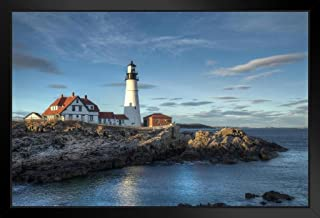Portland Head Lighthouse Cape Elizabeth Maine Photo Black Wood Framed Art Poster 20x14