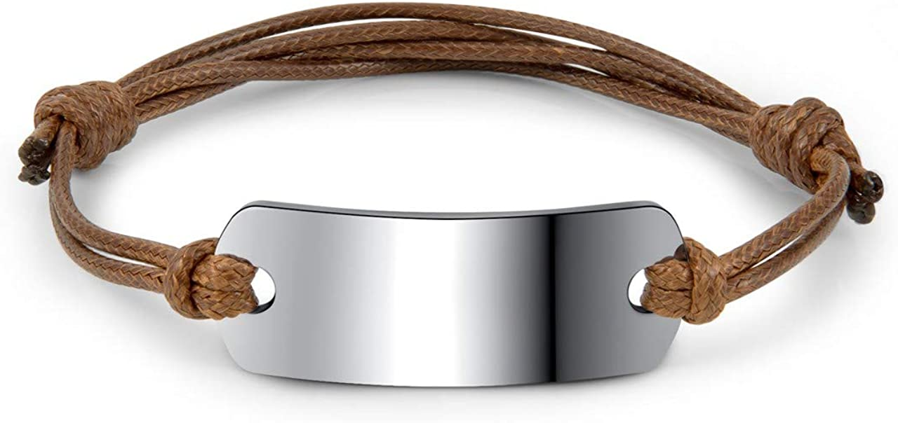 Memolome Handmade Leather Braided Bracelets for Women Girls Custom Engraved Wrist Band Cuff Bangle Adjustable Rope String Personalized Inspirational Jewelry Gifts
