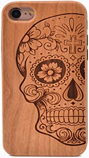 iPhone 7 Wood Case Sugar Skull Pattern Handmade Carving Real Wood Case Wooden Case Cover with Soft TPU Back for Apple iPhone 7,iPhone 8 (2017)