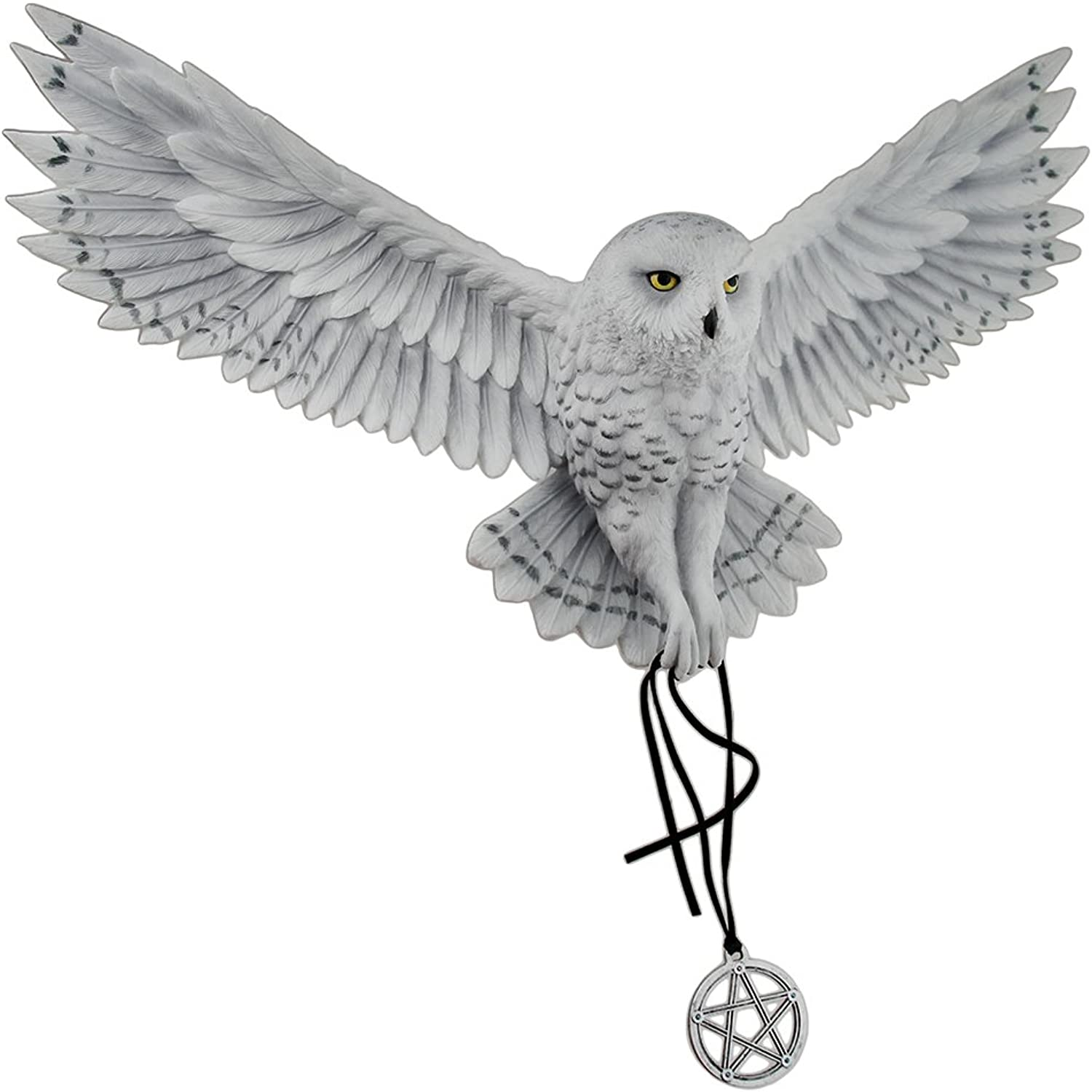 Veronese Resin Wall Sculptures Anne Stokes Awaken Your Magic Snowy Owl With Pentagram Pendant Wall Sculpture 17.5 X 11.5 X 4 Inches Light bluee