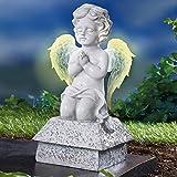 TRI Betender Engel, Engelfigur, leuchtenden Flügel, Trauerengel, Solar- Dekofigur, Grabschmuck, Gedenkstein, Grab, Kunststein, wetterfest, 25 cm