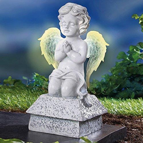 TRI Betender Engel, Engelfigur mit leuchtenden Flügel, Solar- Dekofigur Grabschmuck Gedenkstein Grab, Kunststein, wetterfest, 25 cm