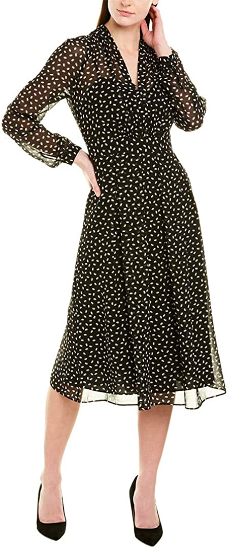 Anne Klein Women's Max 64% OFF Long Sleeve Fit Flare Vneck Dress and Limited Special Price