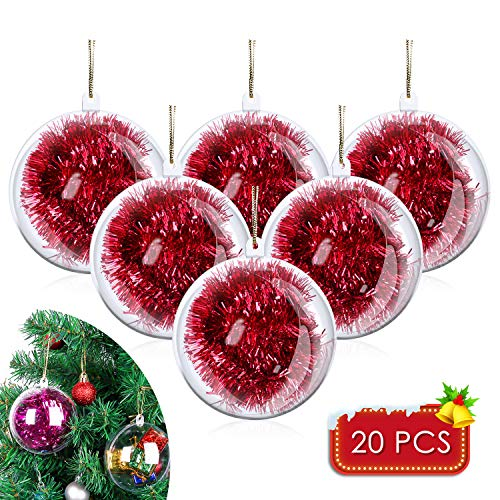 "20 Pack DIY Ornament Balls Clear Fillable Baubles Craft Christmas Decorations Tree Ball for New Years Present Holiday Wedding Party Home Decor Bath Bomb (3.15"")"