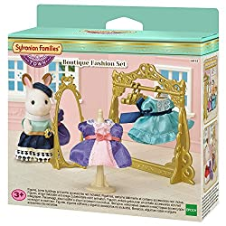 The boutique fashion set comes with a gorgeous golden dressing unit, hangers, a dummy, full length mirror and two elegantly designed dresses Stella chocolate, the chocolate rabbit older sister is the shopkeeper and all the clothes in the shop are fro...