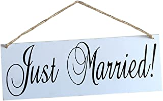 FENICAL Wooden JUST MARRIED Hanging Sign Wedding Hanging Board