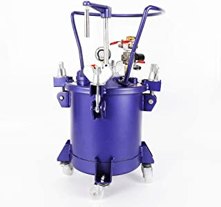 Commercial 2.5 Gallon (10 Liters) Spray Paint Pressure Pot Tank, w/Manual Mixing Agitator & Fluid Pressure Regulator, Removable Stainless Steel Barrel w/Handle for Automotive, Latex, Varnishes