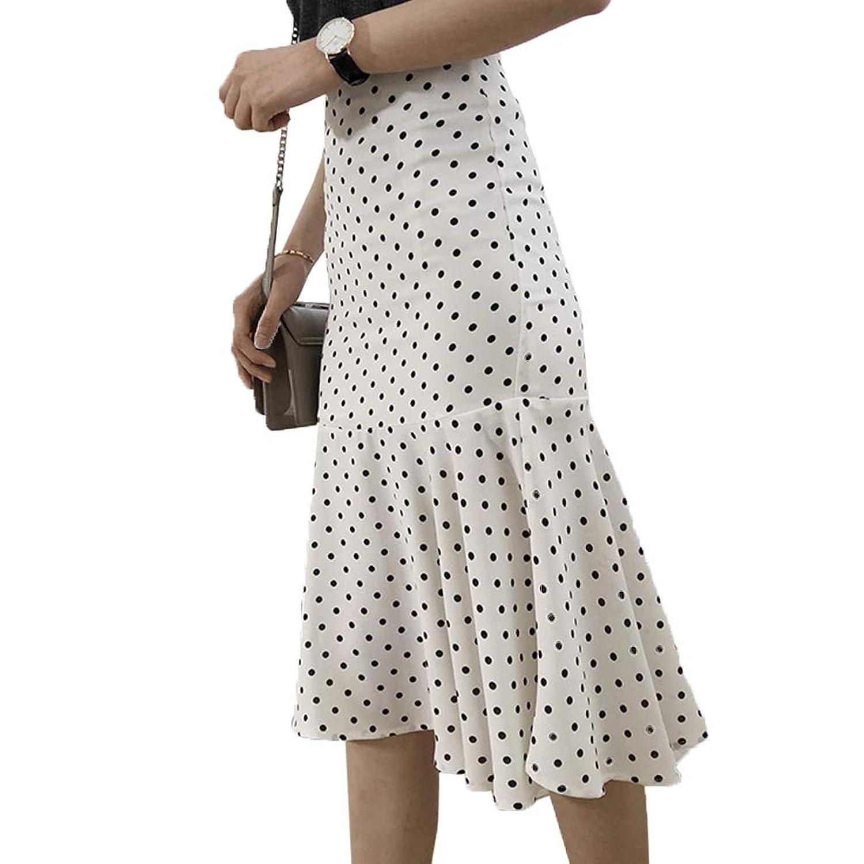 [美しいです]ドット スカート ハイウェスト タイトスカート マーメイドスカート
