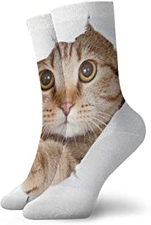 iuitt7rtree Gato mirando hacia arriba en el lado de papel Agujero rasgado Calcetines de atletismo casuales aislados