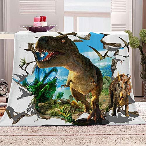 ZFSZSD Plaid Polaire pour Lit Enfant Jurassique et Dinosaures Couverture Polaire Bébé Motif, pour Lit Enfants Garçons Filles, Couverture 70x100cm