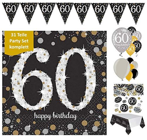 Feestelijke feesten verjaardagsdecoratie 60e verjaardag 31 delen decoratieset luchtballon wimpel slinger confetti servet tafelkleed goud zwart zilver metallic party-set