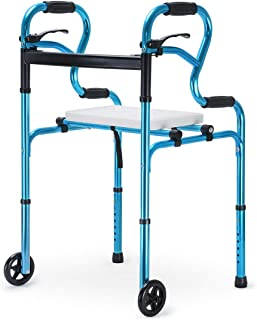 Health Line Massage Products 4 in 1 Stand-Assist Folding Walker with Detachable Seat, Trigger Release and 5 inch Wheels Su...