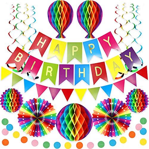 Premium Wiederverwendbare Geburtstagsdeko - Party Deko, Kindergeburtstag Deko, Geburtstag & Party Zubehör - Happy Birthday Girlande, Wimpelkette Geburtstag, Wabenbälle, Pompons Deko, Regenbogen Deko
