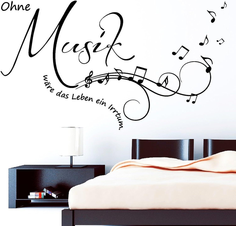 """Wandtattoo  Schriftzug """"Ohne Musik wäre wäre wäre das Leben ein Irrtum  - Zitat von Friedrich Nietzsche   Wandaufkleber   Wandsticker   49 Farben   3 Größen   schwarz   55 x 98 cm B00AK7B1GA 19de26"""