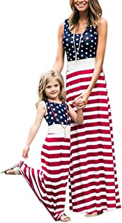 4th of July American Flag Mommy and Me Stripe Stitching Beach Maxi Dresses