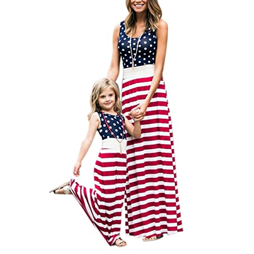 216bbb73b85b0 4th of July American Flag Mommy and Me Stripe Stitching Beach Maxi Dresses