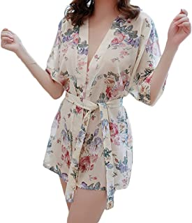 Women Sexy V-Neck Floral Printing Short Sleeve Lace Up Tied Night Robe Sleepwear - Navy Blue One Size