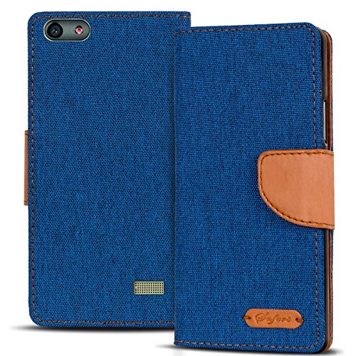 Verco G Play Mini Hülle, Schutzhülle für Huawei G Play Mini Tasche Denim Textil Book Case Flip Case - Klapphülle Blau