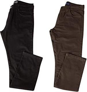 Kit com Duas Calças Masculinas Jeans e Sarja Coloridas com Lycra - Preta