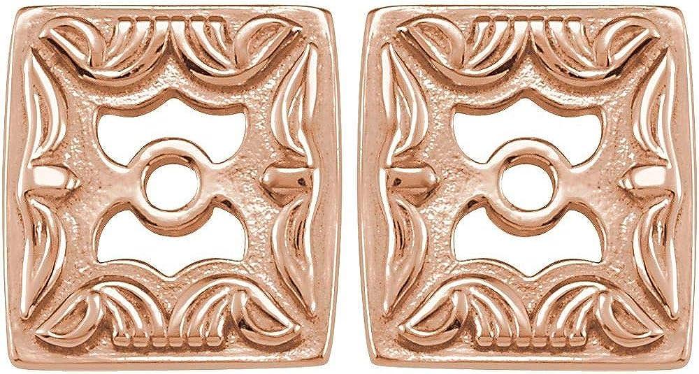 Metal Fashion Earring Jackets (Width = 6.9mm)