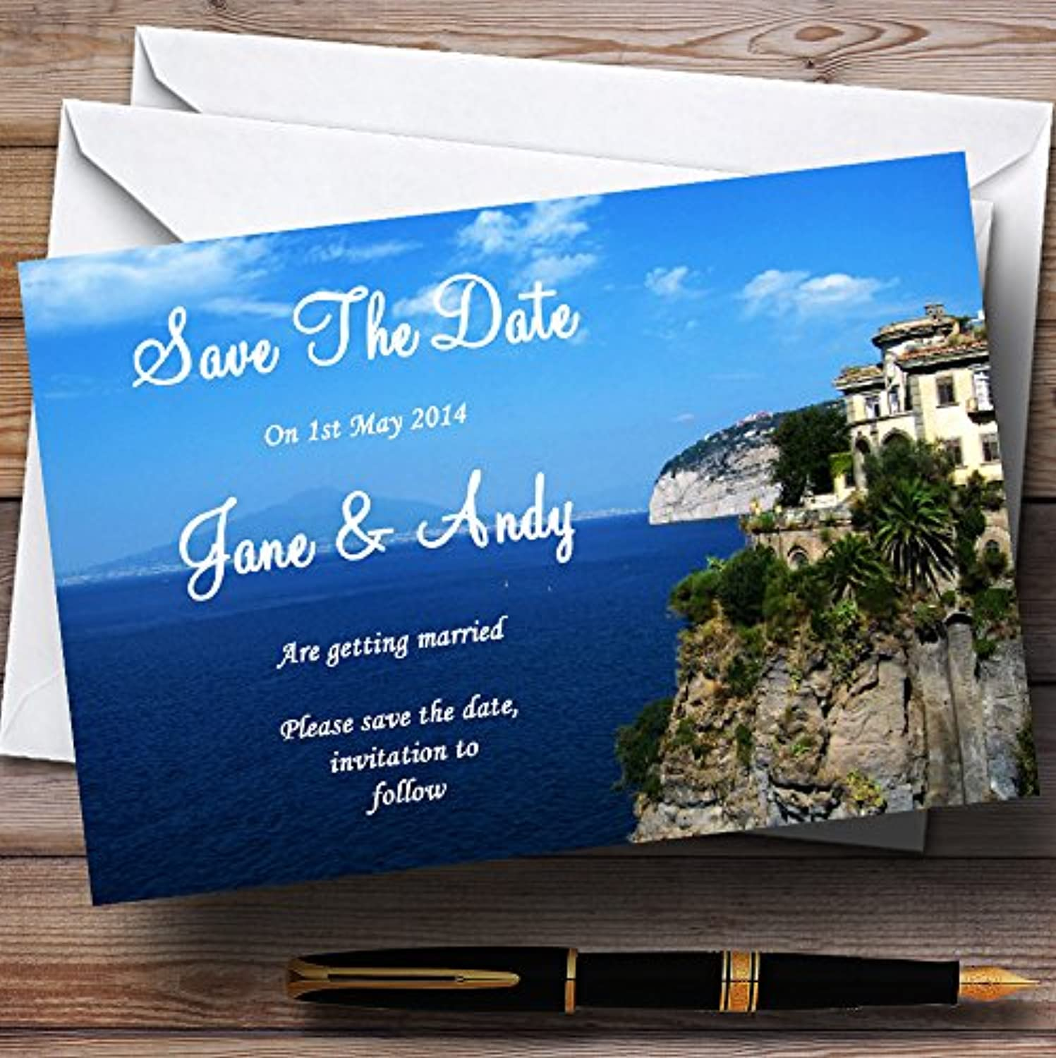 Jetting Off Abroad Sorrento  Personalised Wedding Stationery Save The Date Cards