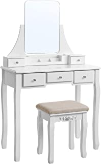 VASAGLE Dressing Table with Large and Frameless Mirror, Mode