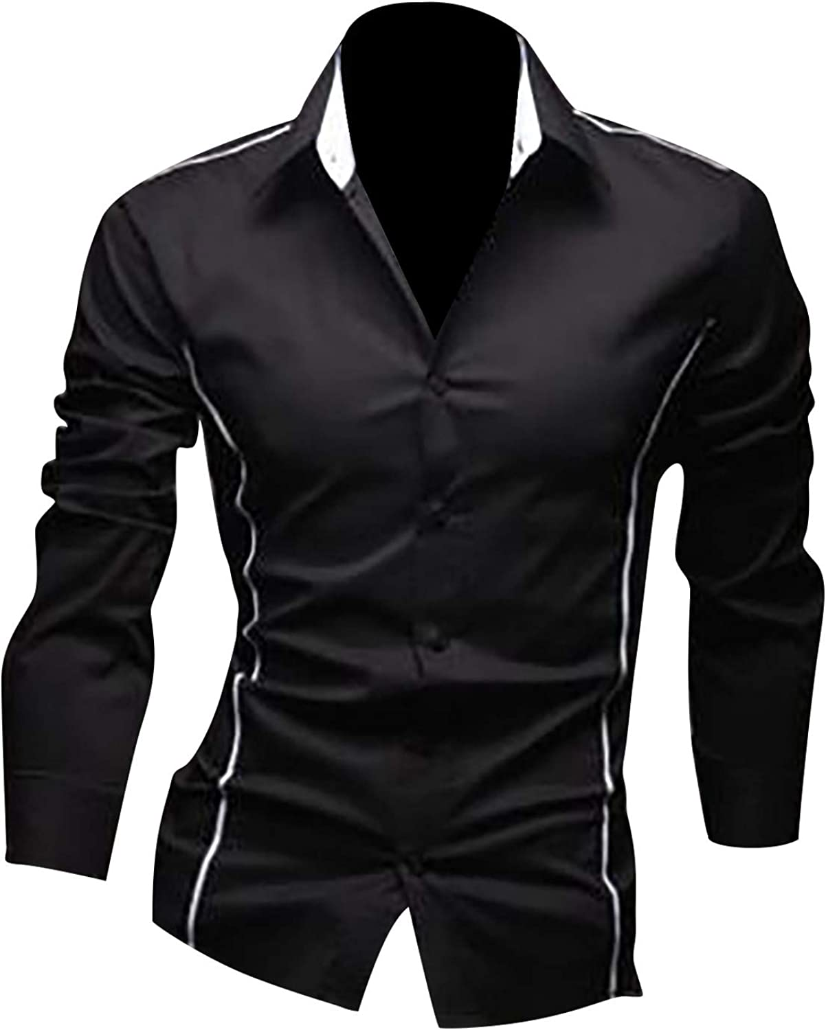 Tpingfe Mens Button Down Dress Shirts Long Sleeve Modern Fit Cotton Polo Shirt Casual Front Placket Tops Vintage