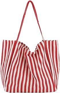Canvas Bags Striped Big Canvas Tote Bag For Women Summer Beach Classic Fabric Soft Big Handbag Female Large Casual Top Han...