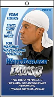 Premium Stretch Durag for Smooth and Uniform Hair Waves, White