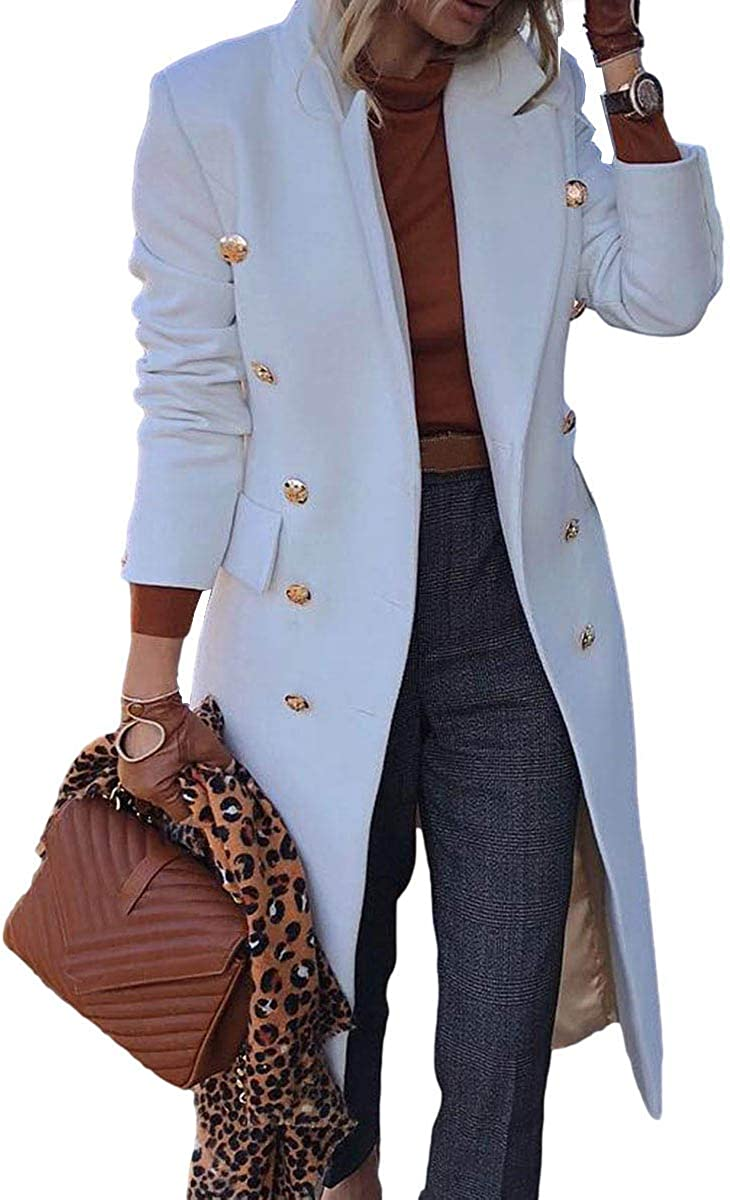 BZB Women's Elegant Notched Collar Double Button Slim Long Wool Blend Pea Coat Jacket