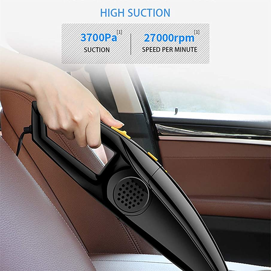 ???Dual-Use Vacuum Cleaner,QGhead Multifunction Portable Cleaner Smart Handheld Wireless Charging,Working time 20min,Clean Both Dry and Damp Things Like Water, Milk, Dirt,Hair from Your car. (Black)