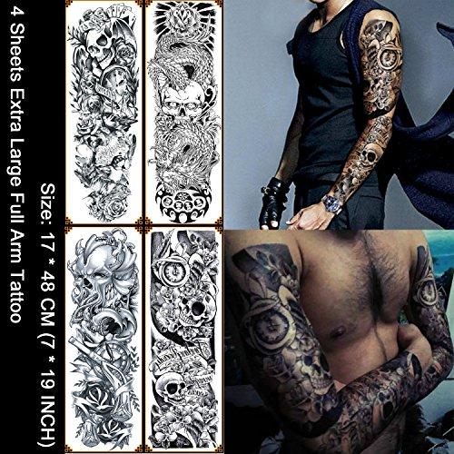 Kotbs 4 Sheets Large Waterproof Full Arm Tattoo Sticker Skull Rose Fake Tattoos Sleeve Temporary Tattoo Body Art for Men Women