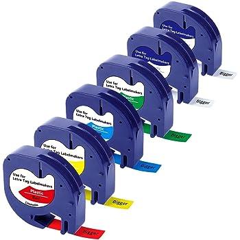 5PK LetraTag Tape DYMO LT-100H 91331 91332 91333 91334 91335 12mm 4m Laminated