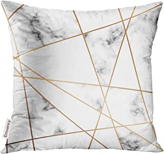 VANMI Throw Pillow Cover Gray Stone Marble Design with Golden Geometric Lines Black and White Marbling Modern Luxurious Pink Block Decorative Pillow Case Home Decor Square 20x20 Inches Pillowcase