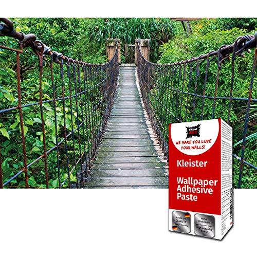 GREAT ART Fototapete Dschungel Hängebrücke 336 x 238 cm - Regenwald Dschungel Brücke Abenteuer Urwald Tropen Wandtapete Dekoration Wandbild – 8 Teile Tapete inklusive Kleister