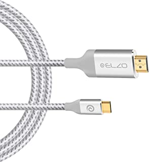 ELZO USB C to HDMI Cable(4K@60Hz), 6ft/1.8M Type C 3.1 to HDMI Cord (Thunderbolt 3 Compatible) for MacBook Pro 2018/2017/2016, Surface Book 2, Samsung S9/S8, Dell XPS 13/15, Pixelbook and More