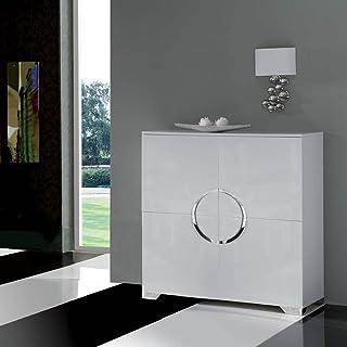 Dugar Home Muebles de Salón - Aparadores de Diseño - Blanco/Cromo W-744