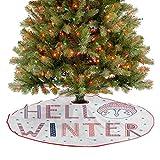 Homesonne Falda de árbol de Navidad Hello Winter Texto tipográfico con cara divertida en un sombrero rodeado de copos de nieve, decoración de fiesta de Navidad, decoración multicolor de 76,2 cm