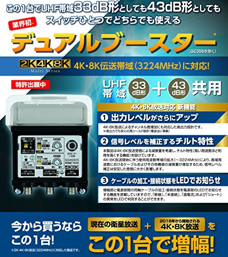 DXアンテナ『CS/BS-IF・UHFデュアルブースター(GCU433D1S)』
