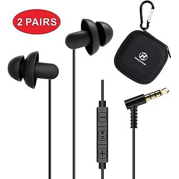 Hearprotek Écouteurs de Sommeil, Confortable en antibruit Silicone Intra Auriculaires Écouteurs avec Micro et Contrôle du Volume 3.5mm Jack pour