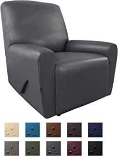 Easy-Going PU Leather Slipcovers, Waterproof Sofa Covers with Pocket, 4 Pieces Stretch Furniture Protector, Anti-Slip Elastic Strap Shield (Recliner, Dark Gray)