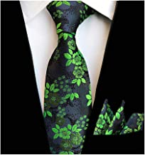 Tie Set for Mens Cravat Luxury Floral Pattern Wedding Necktie with Pocket Square Set